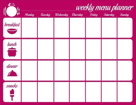 menu chart template meal plan calendar template search personal weekly meals menu template