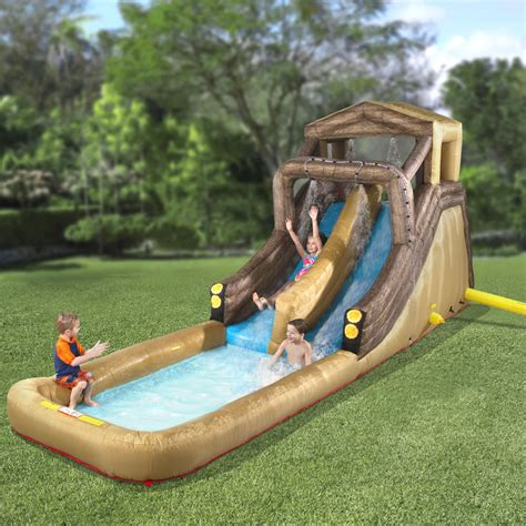 backyard inflatables the inflatable backyard log flume hammacher schlemmer