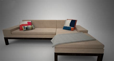 lorimer sectional west elm lorimer sofa with chaise 3d model max cgtrader com