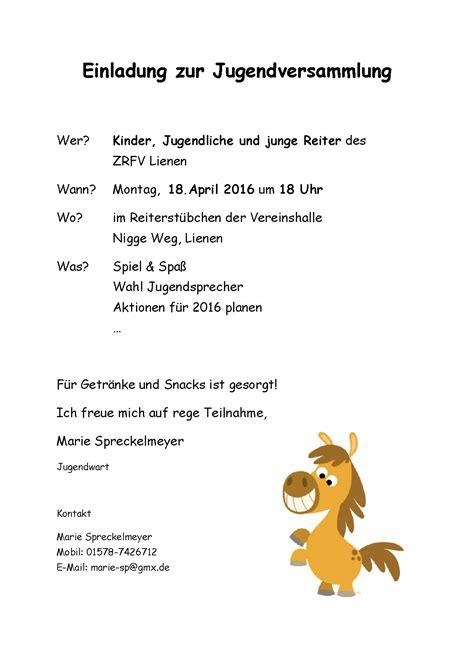 Muster Einladung Jugendversammlung einladung zur animefc info
