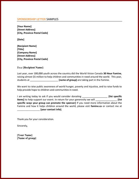 business sponsorship letter template corporate sponsorship request letter