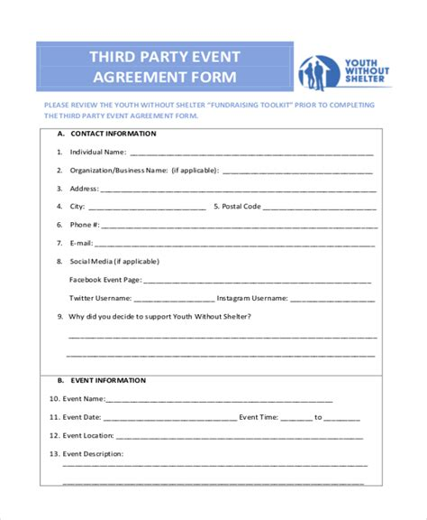 third agreement template agreement form sle sle hold harmless agreement form