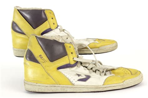 magic johnson basketball shoes lot detail 1986 87 magic johnson los angeles lakers