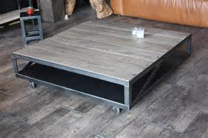 table basse industrielle bois gris acier micheli design