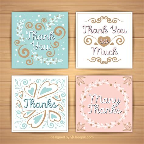 free printable thank you cards vintage vintage thank you card set vector free download