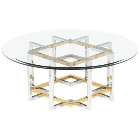 Mid Century Modern Chrome And Brass Coffee Table At 1stdibs Modern Chrome Coffee Table