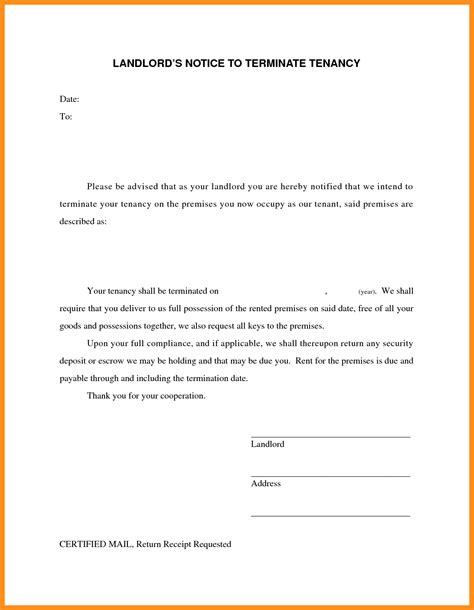End Of Lease Letter Template 6 Landlord Notice Letter Resume Setups