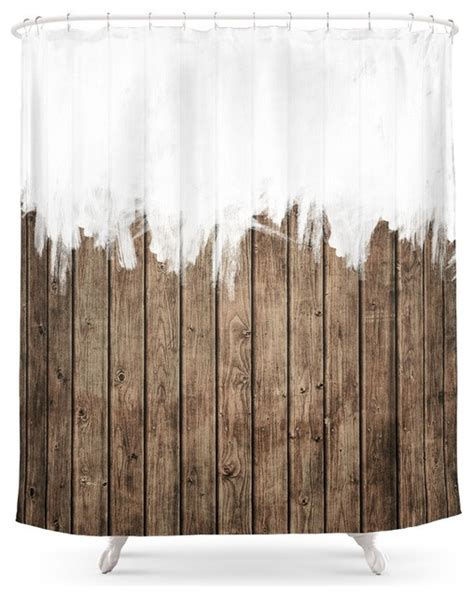 rustic curtain white abstract paint on brown rustic striped wood shower