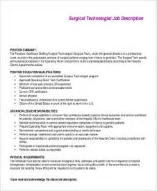 Surgical Technologist Duties by Sle Surgical Tech Description 8 Exles In Pdf