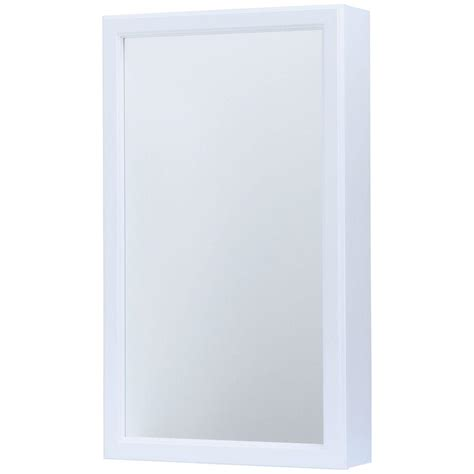 white framed medicine cabinet glacier bay 15 1 4 in w x 26 in h framed surface mount