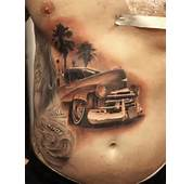 Detailed Lowrider Classic Car Design Done In Grayscale And Shading