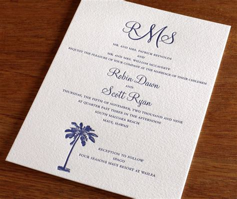wedding invitations with monograms palm tree wedding invitations for summer letterpress wedding invitation