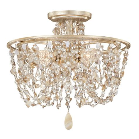 Seashell Light Fixtures Vaxcel Silver Leaf Three Light Semi Flush With Seashell And Bead Crystals