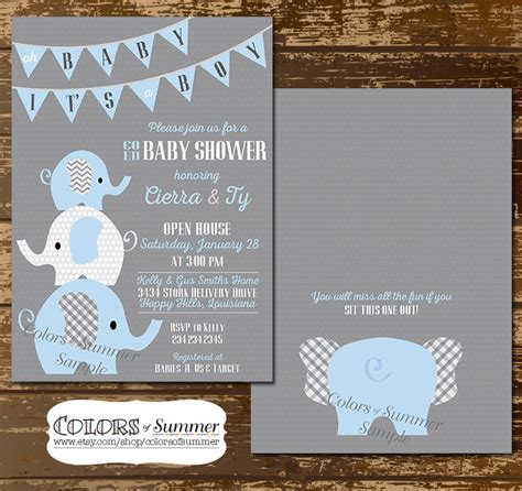 baby shower invites elephants elephant baby shower invitation co ed baby shower invitation