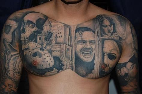 movie tattoos horror sleeve faces of horror