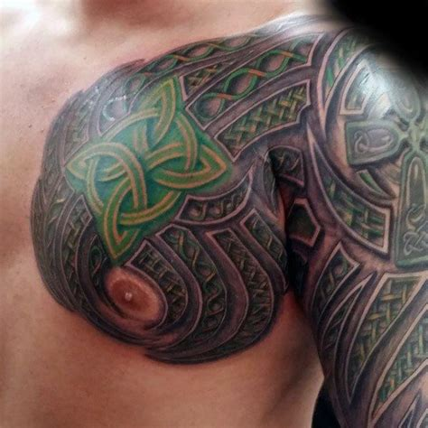 scottish tattoos for men green knots mens celtic sleeve and chest tattoos