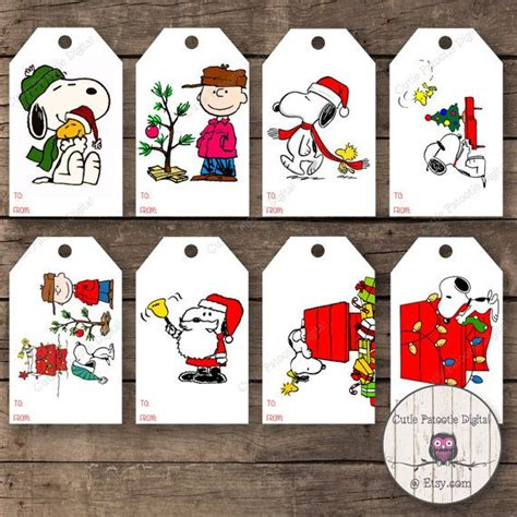 charlie brown snoopy christmas gift tag by