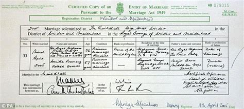 Recent Marriage Records Uk William And Kate Their Secret Marriage Certificate Daily Mail