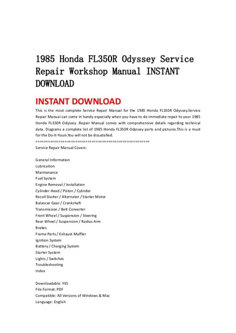 how to download repair manuals 2003 honda odyssey transmission control 1985 honda fl350 r odyssey service repair workshop manual instant dow