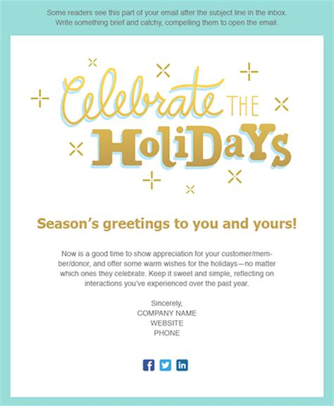 holiday email templates  small businesses nonprofits