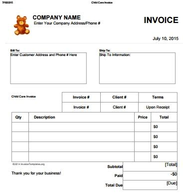 Daycare Receipt Template Freeware by Child Care Invoice Template Excel Denryoku Info