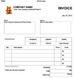 free daycare invoice template 27 day care invoice template collection demplates