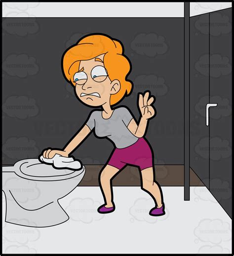 how to wipe after using the bathroom a disgusted woman wiping the toilet seat cartoon clipart
