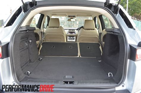 range rover evoque back seat space 2012 range rover evoque sd4 laid rear seat boot