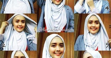 tutorial hijab pashmina kaos simple til anggun dalam berbagai macam jenis pashmina hairstylegalleries com