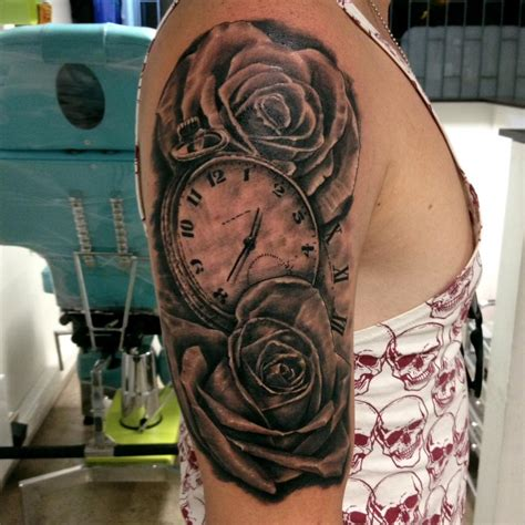 half sleeve rose tattoo grey flowers on right half sleeve
