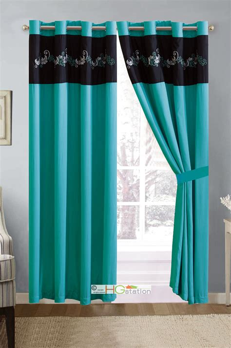 turquoise and silver curtains 11 p gael scroll floral leaves comforter curtain set