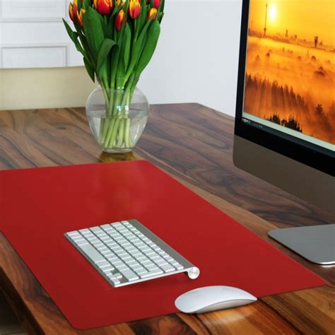 red leather desk pad using desk mats and pads as creative desk organizers