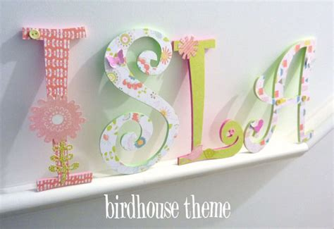 How To Decorate Wooden Letters For Nursery Handpainted And Decorated Wooden Letters Nursery Decor Themes On Luulla