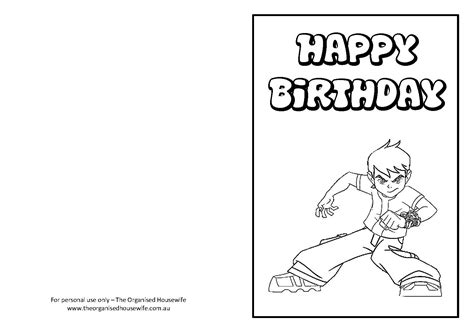printable birthday cards in color printable birthday cards for boys to color
