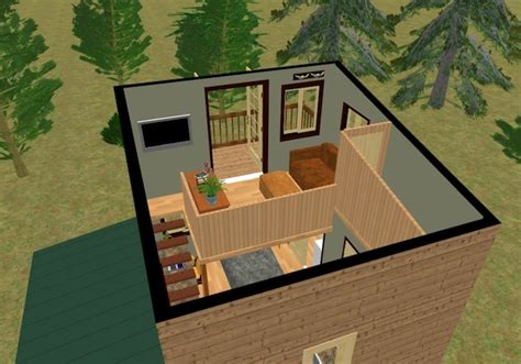 Modern House Blueprint by The Cozy Cube Tiny House With A Balcony From Cozy Home Plans