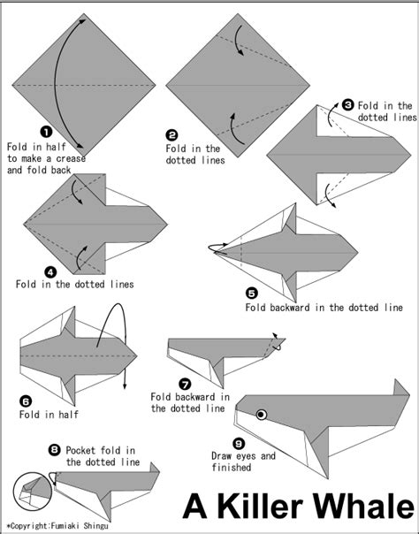 Origami Whales - origami killer whale diagram vbs craft ideas