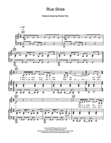 Blue Skies sheet music by Noah And The Whale (Piano, Vocal