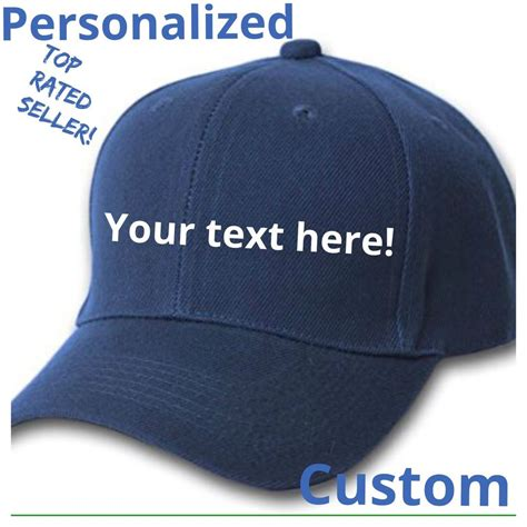 custom personalized navy blue baseball hats caps