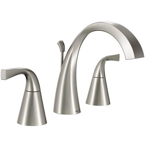 Moen Bathroom Fixtures Shop Moen Oxby Spot Resist Brushed Nickel 2 Handle Widespread Watersense Bathroom Sink Faucet