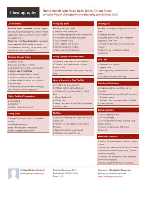 home health aide basic skills hha sheet by