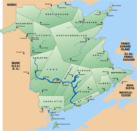 map of maine usa and new brunswick canada regional maps of new brunswick