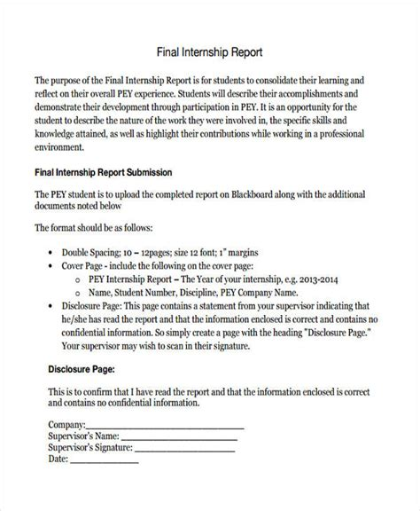 sle internship report template