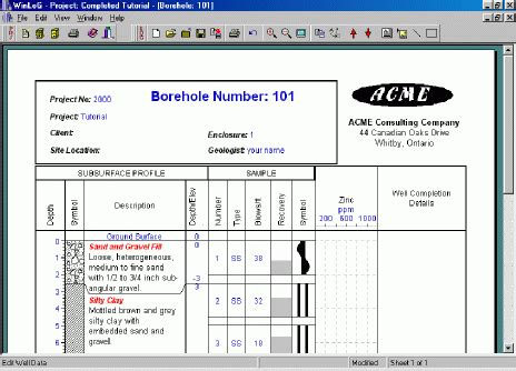 borehole log template groundwatersoftware winlog powerful borelog
