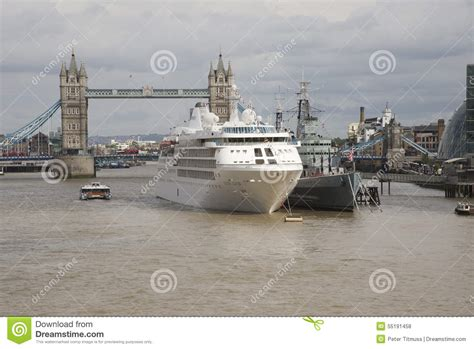 river thames visitors boat licence tower bridge london a cruise ship and hms belfast