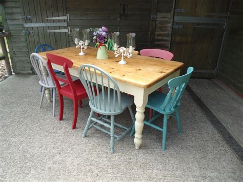 solid pine 6ft kitchen dining 2 drawer table with 8 chairs