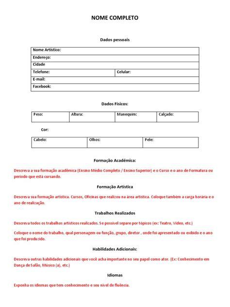 Modelo Curriculum Artistico Modelo De Curriculo 205 Stico Docx
