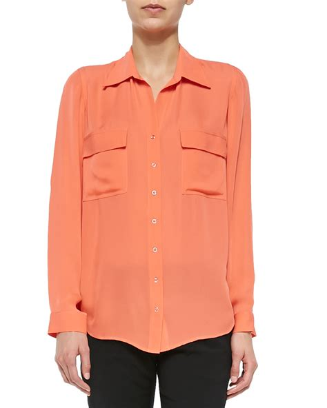 Sleeve Blouses With Pockets by L Agence Sleeve Two Pocket Silk Blouse In Pink Lyst