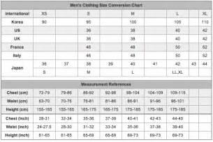 Men s clothing sizes in korea us uk france italy and japan
