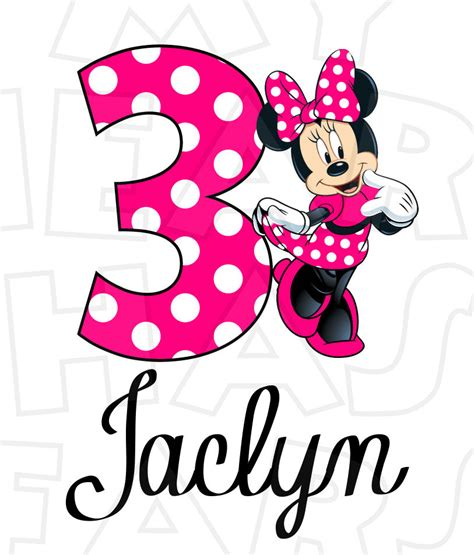 St Three Mickey Polka 1 minnie mouse pink birthday personalized any