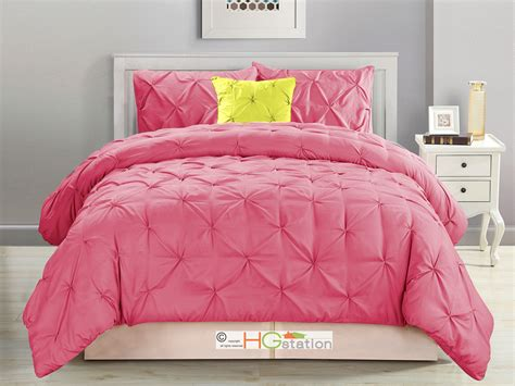 pink king comforter set 4 pc diamond ruched pinched pleated ruffled pintuck